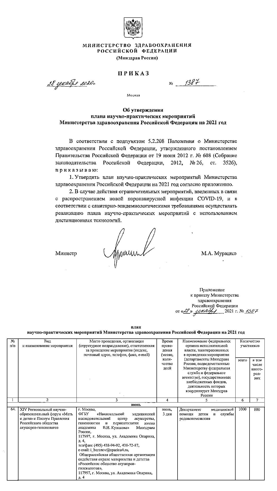 Приказ МЗ РФ